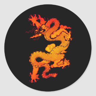 Dragón del oro y del naranja por Año Nuevo chino Pegatina Redonda