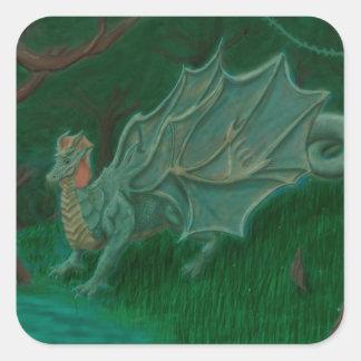 Dragón del pantano pegatina cuadrada