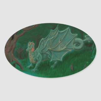 Dragón del pantano pegatina ovalada