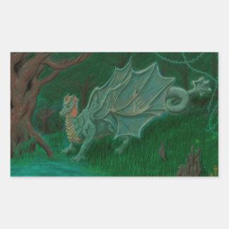 Dragón del pantano pegatina rectangular