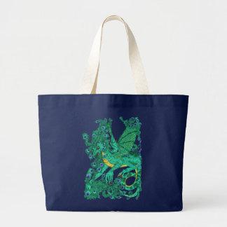 Dragón del pavo real bolsa de tela grande