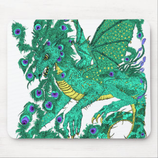 Dragón del pavo real tapetes de raton