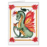 Dragón del Poinsettia Tarjeta