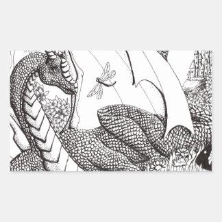 Dragón del prado pegatina rectangular