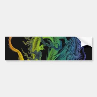 Dragón del pulmón del arco iris etiqueta de parachoque