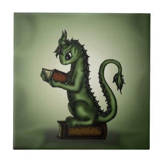 Dragón del ratón de biblioteca azulejo cuadrado pequeño