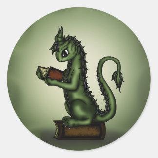 Dragón del ratón de biblioteca pegatina redonda