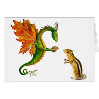 Dragón del roble tarjeta de felicitación