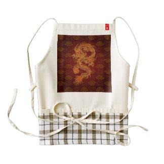 Dragón del rojo del chino tradicional delantal zazzle HEART