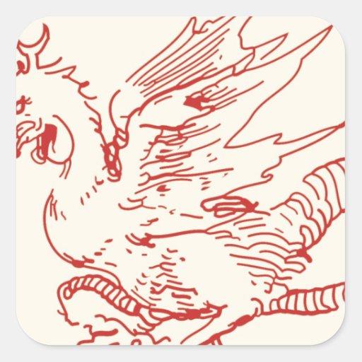 Dragón del rojo y del moreno pegatina cuadrada