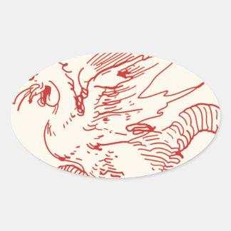 Dragón del rojo y del moreno pegatina ovalada