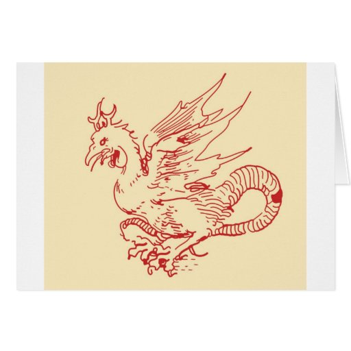 Dragón del rojo y del moreno tarjeta de felicitación