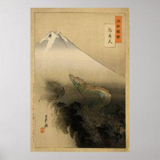 Dragón del sho diez de Ryu que sube al cielo por O Poster