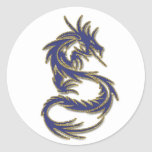 Dragón del tatuaje del azul y del oro pegatina redonda