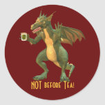 Dragón del té o del café pegatina redonda