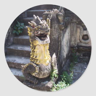 Dragón del templo etiqueta redonda
