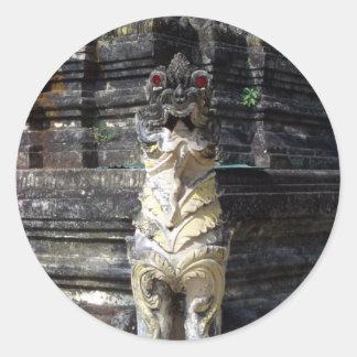 Dragón del templo etiquetas redondas