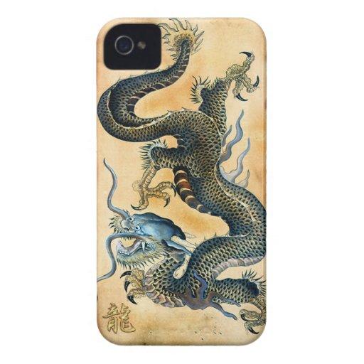 Dragón del vintage en el caso asiático del iPhone