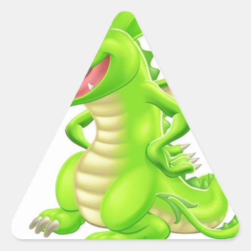 Dragón derecho del dibujo animado pegatinas de triangulo