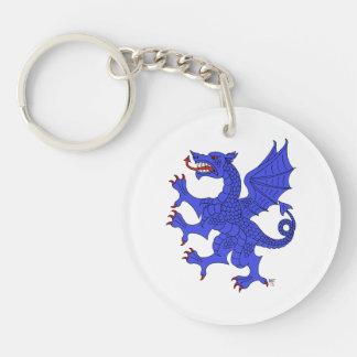 Dragón desenfrenado (azul) en el llavero de