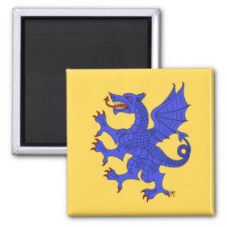 Dragón desenfrenado (azul) imán cuadrado