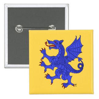 Dragón desenfrenado (azul) pin cuadrado