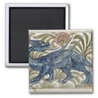 'Dragon' design for a tile (w/c on paper) 2 Inch Square Magnet