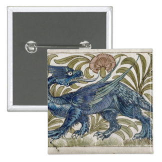 'Dragon' design for a tile (w/c on paper) Pinback Button