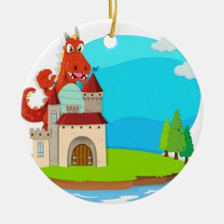Dragon destroying the castle ceramic ornament