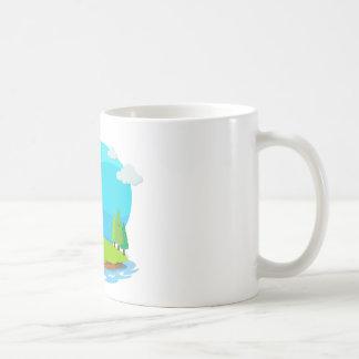 Dragon destroying the castle coffee mug