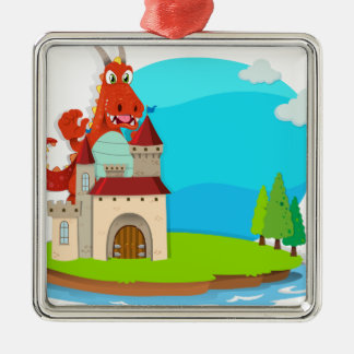 Dragon destroying the castle metal ornament