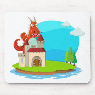 Dragon destroying the castle mouse pad