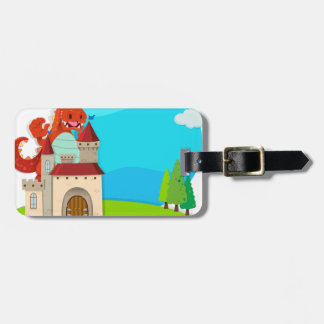 Dragon destroying the castle tag for luggage