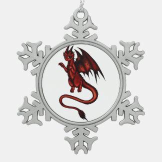 Dragon Devil Snowflake Pewter Christmas Ornament