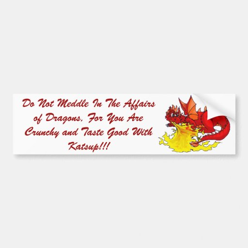 dragon, Do Not Meddle In The Affairs of Dragons... Car Bumper Sticker