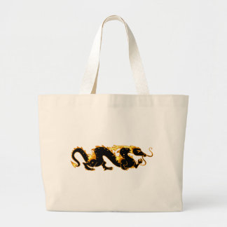 Dragon Dragon Black and Gold Tote Bags