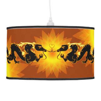 Dragon Dragon Black and Gold Hanging Pendant Lamp