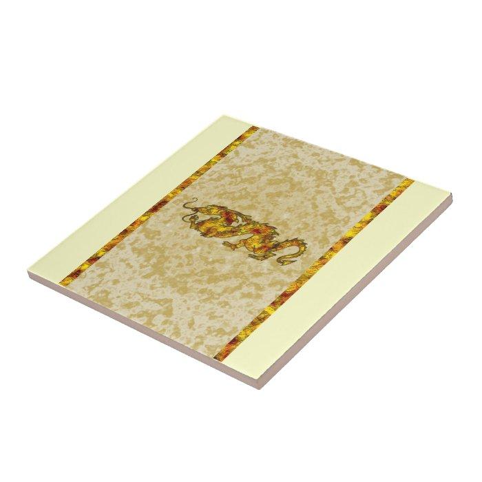 Dragon Dragon Cutout of Gold Tile