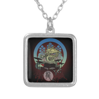 Dragon Drum 02 Silver Plated Necklace