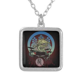Dragon Drum 02 Square Pendant Necklace