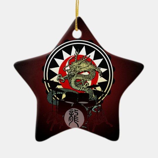 Dragon Drum 06 Ceramic Ornament