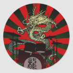 Dragon Drum 2 Pegatina Redonda