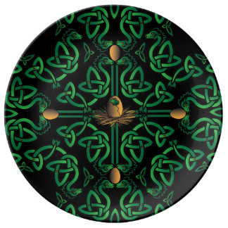 Dragon Egg Celtic Cross Porcelain Plate
