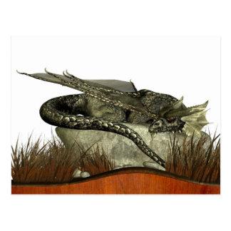 Dragón el dormir en una roca tarjetas postales