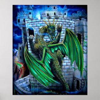 Dragón en castillo póster