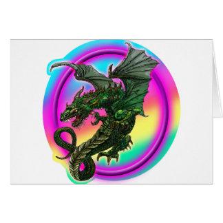 dragón en color de la copia colorida del surond de tarjeta de felicitación