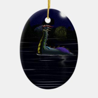 Dragón en el lago adorno ovalado de cerámica