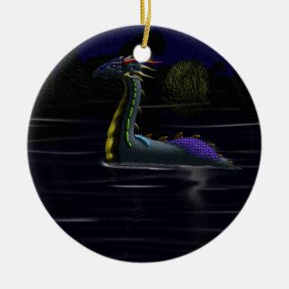 Dragón en el lago adorno redondo de cerámica