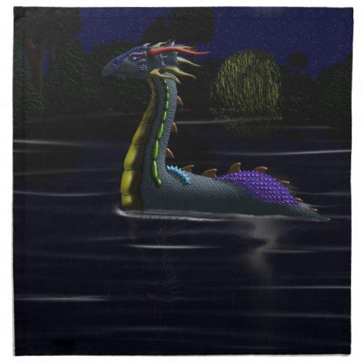 Dragón en el lago servilleta de papel