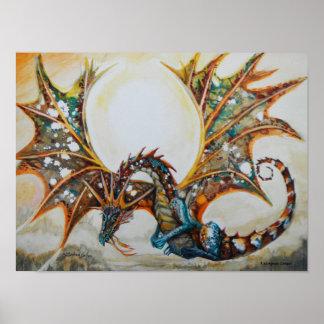 Dragón en el poster del cielo